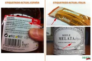 Comparación entre unha etiqueta de mel en España e en Italia.