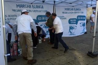 Reparto de leite en León.