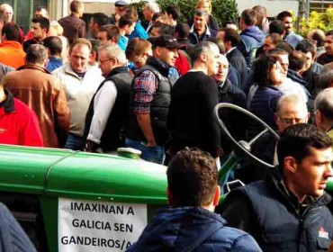 Os gandeiros da tractorada de Lugo decláranse en espera da conselleira