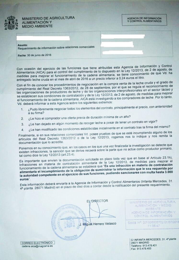O Ministerio investiga 2.000 contratos lácteos en Galicia por debaixo de 24 céntimos