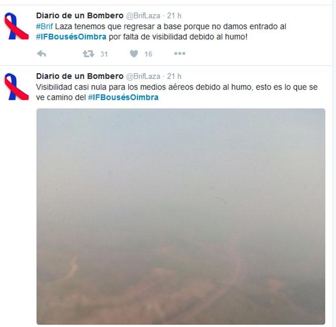 Os medios aéreos tiveron que renunciar a entrar en ocasións nos lumes por falta de visibilidade.
