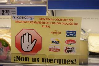 Unións inicia en Lugo unha campaña de boicot a Lactalis que ameaza con estender ao resto de España