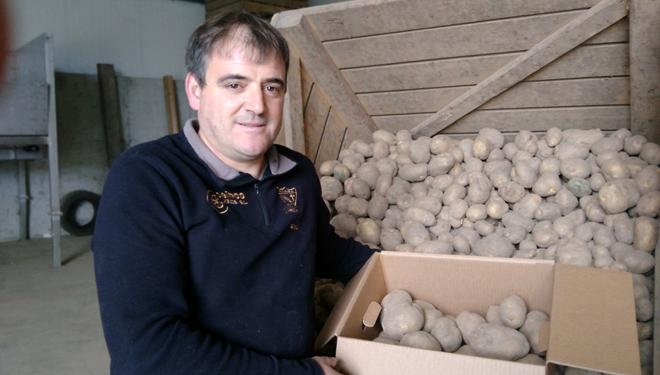 Amador Díaz cunha das caixas de patacas que estes días envía a toda España