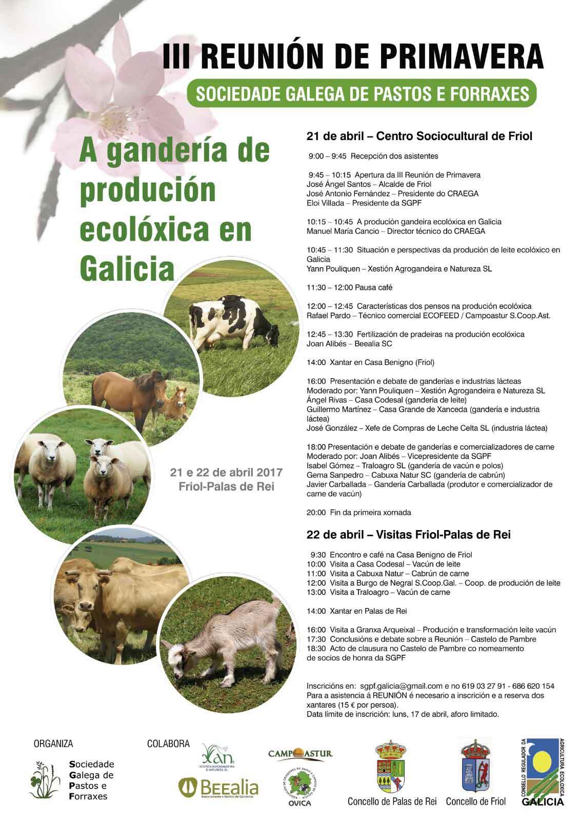 Programa da reunión de primavera da Sociedade Galega de Pastos e Forraxes