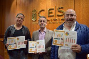 Isabel Vilalba, do SLG; Miguel López Crespo, da Unión de Consumidores de Galicia, e Roberto García, de UUA, reclamando a etiquetaxe obrigatoria