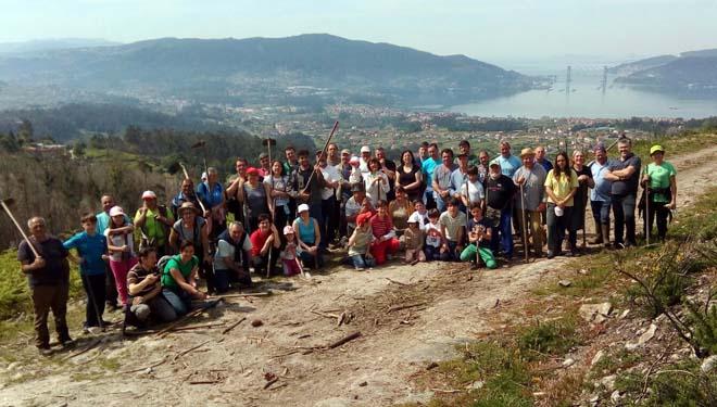 Reforestación popular en el monte vecinal de Viso, afectado por un incendio en verano