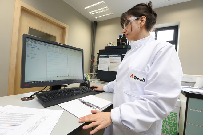 The state-of-the-art Alltech 37+® mycotoxin analytical services laboratory now open at Alltech's European Bioscience Centre in Ireland. Dr. Sanja Trajkovic pictured analyzing samples for mycotoxin contamination.