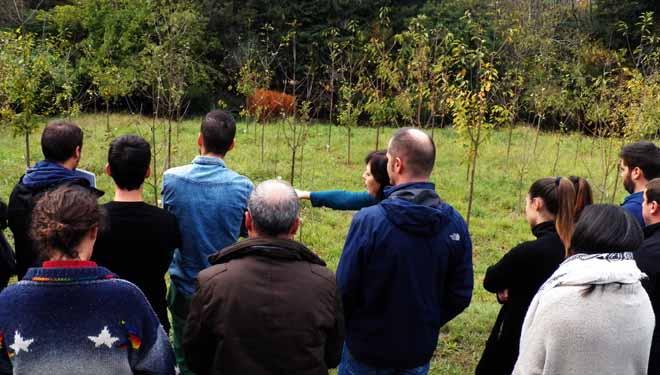 Visita a unha parcela de ensaios de cerdeiras, na xornada organizada por Lourizán.