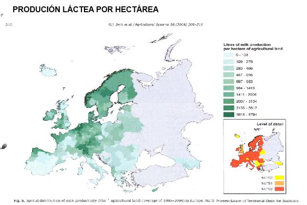 producion lactea por hectarea na UE
