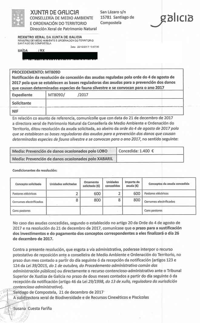 Resolución dunha axuda con rexistro de saída o venres 22 e que concede un prazo ata o martes 26 para xustificar a execución da axuda.