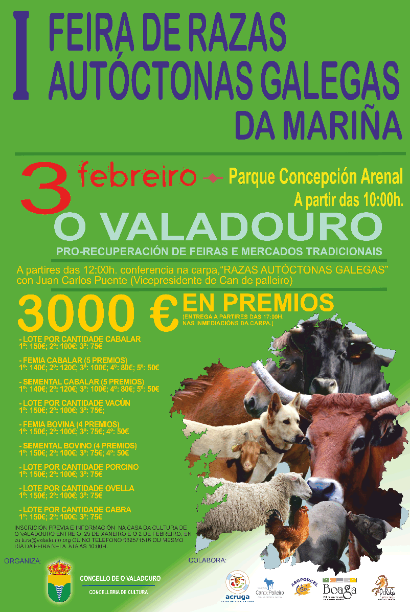 O Valadouro acollerá o 3 de febreiro a I Feira de Razas Autóctonas Galegas da Mariña