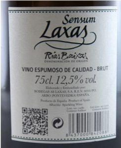 Etiqueta de Sensum As Laxas, premiado en 2017 como o mellor espumante de Galicia