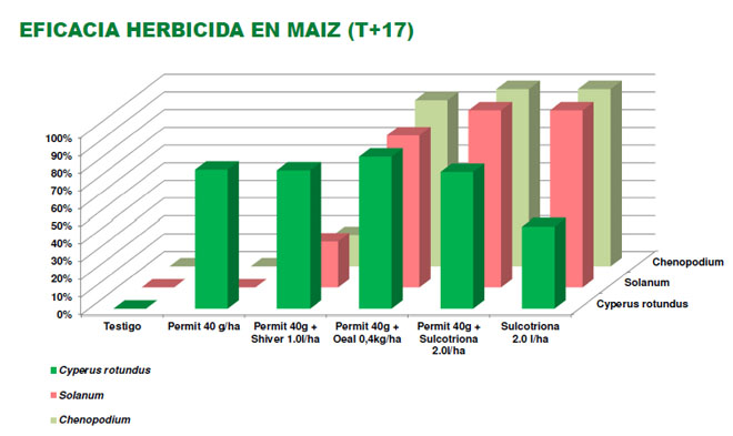 Comparación do resultado e espectro abarcado por distintos tratamentos herbicidas.