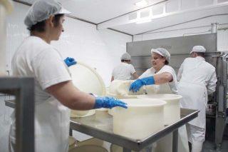 O corte e moldeado do queixo é un proceso artesanal.