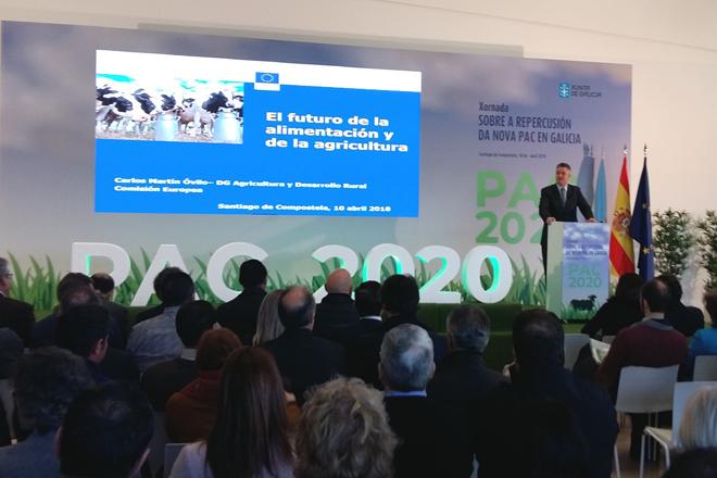 Carlos Martín Óvilo durante su intervención en una jornada sobre la PAC celebrada en Santiago de Compostela