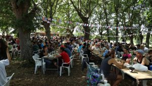 El almuerzo se celebra en el robledal. FOTO: Maca Soto