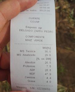 Ticket que recibe o agricultor de cada remolque