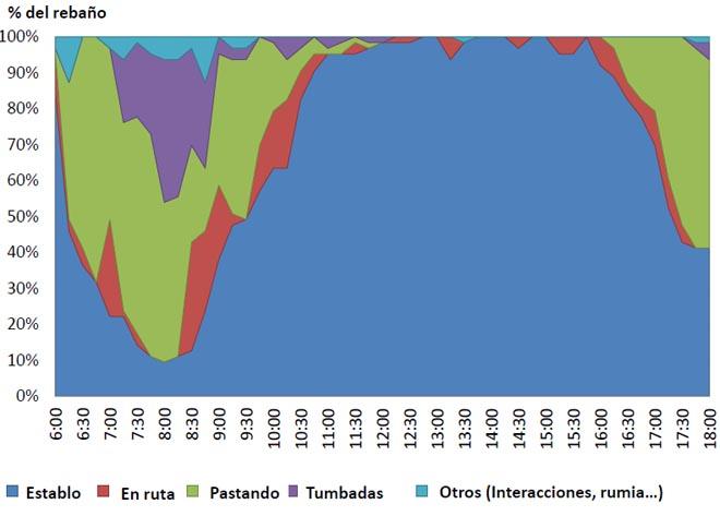 La gráfica muestra como el acceso continuo al exterior durante 12 horas es aprovechado para pastoreo sólo en un 20%. El mejor resultado se obtuvo con acceso a los pastos alterno, 4 horas por la mañana y 4 horas por la tarde.