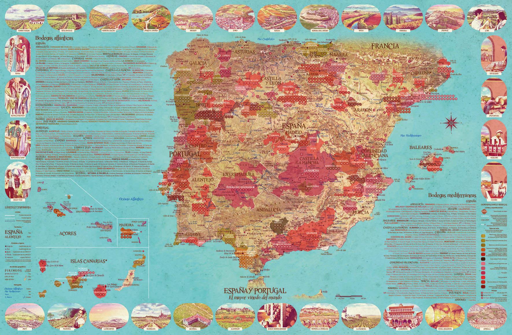 Mapa das Denominacións de Orixe vitivinícolas de España e Portugal. Foto: DIAITA