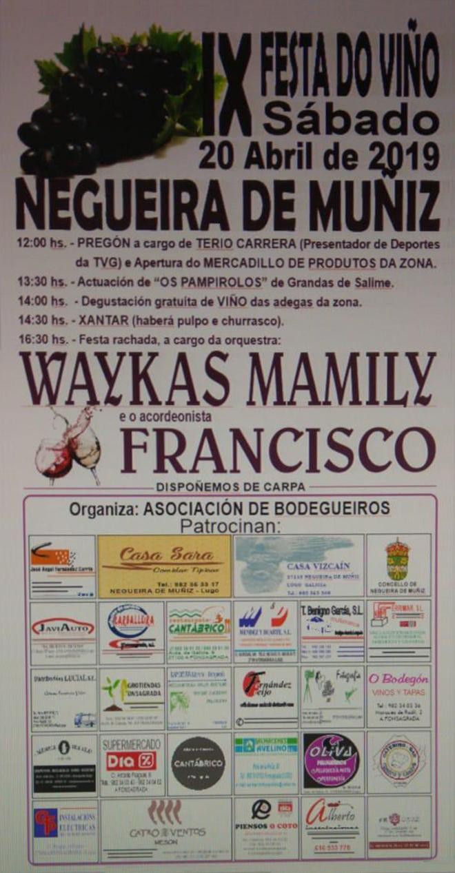 cartel Festa do Viño de Negueira 2019