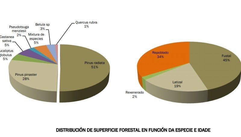 Distribución das distintas especies forestais na CMVMC Xalo-Celas