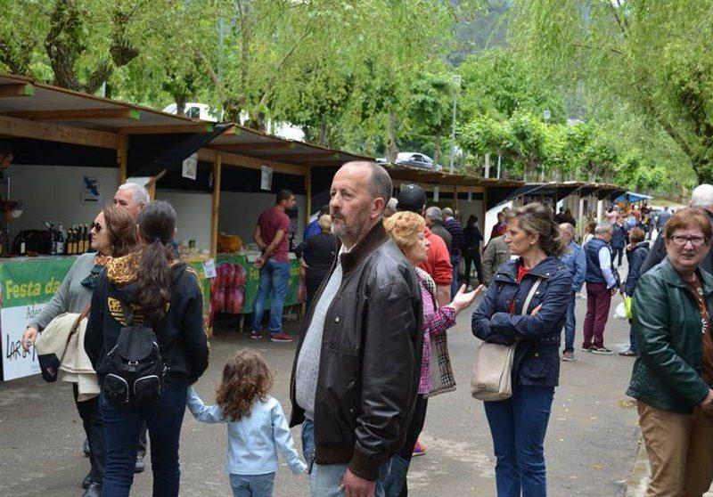 Público na edición do ano pasado da Festa da Cereixa e do Aceite na praia fluvial de San Clodio