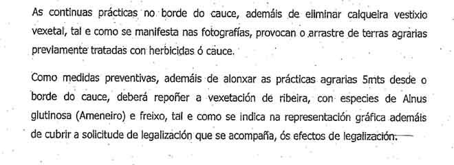 Fragmento do escrito de Augas de Galicia recibido por un dos afectados.