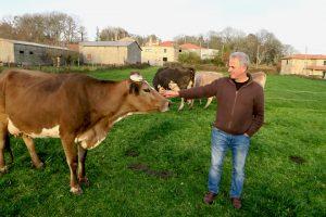 Xosé Luís coas súas vacas pardo alpinas