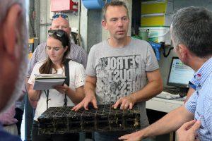 Rik amosando a base perforada de plástico sobre a que está o compost e que permite aspirar o amoniaco