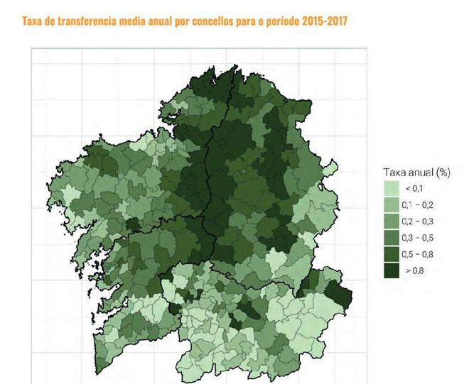 Mapa de mobilidade de terras en Galicia.