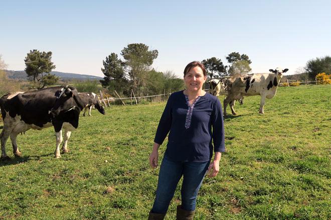 Esther coas vacas da gandería