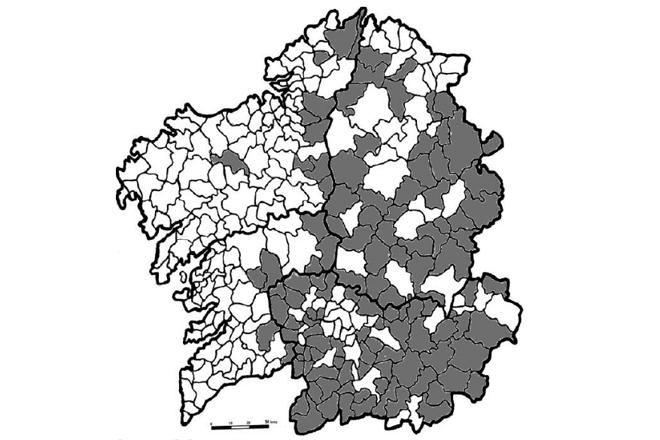 ÍNDICE DE REEMPRAZO. Municipios galegos onde hai 5 veces máis persoas maiores de 75 anos que menores de 10 (Autoría: Alberto José Pazo e María Pilar Moragón)
