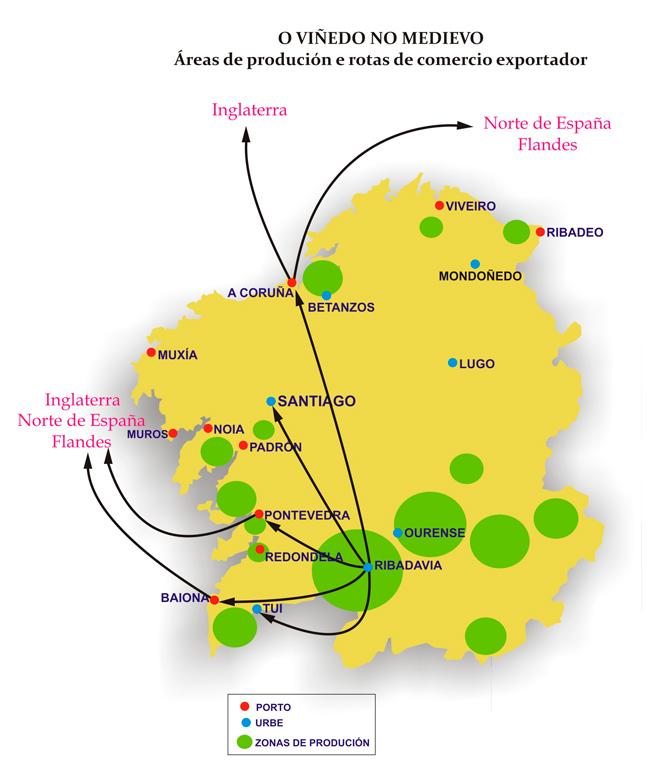 Fluxos comerciais na Idade Media dende as zonas de produción do viño.