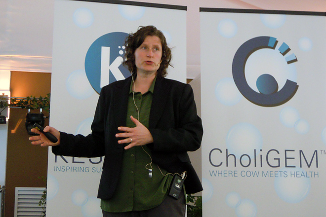 Tanya Gressley, durante a súa intervención nas xornadas de nutrición organizadas por Kemin en Vilalba