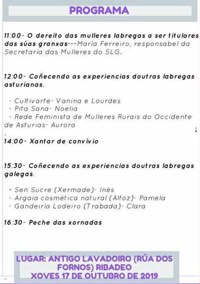 programa xornada SLG labregas Ribadeo (17-10-19)