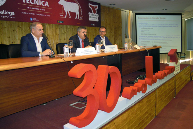 O presidente do Consello Regulador, Jesús González, xunto a outros membros de Ternera Gallega nas xornadas celebradas este venres en Lugo