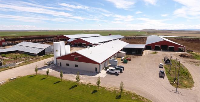 A explotación Andersen Dairy, situada en Declo, no estado de Idaho.