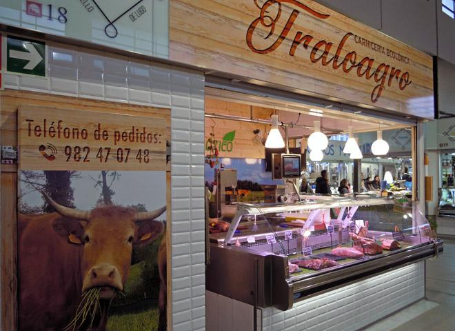 Posto de venda directa que Traloagro vén de abrir tamén na Praza de Abastos de Lugo