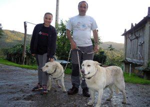 Antonio, coa súa filla lidia e as dúas cadelas de raza Can de Palleiro, Laika e Simba