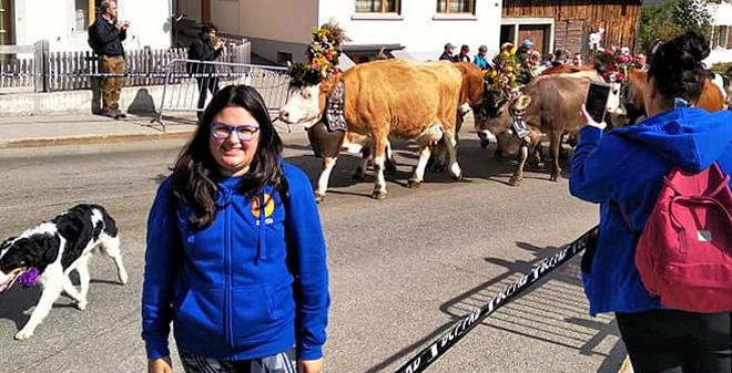 Lara na viaxe organizada en setembro por Gandeiras Asturianas a Suiza