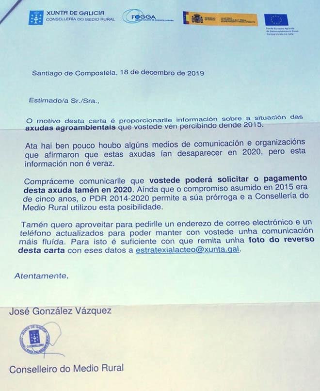 Carta de la Consellería.