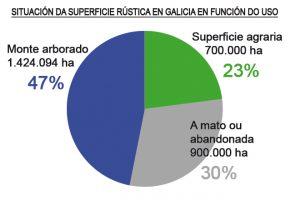 grafico situacion superficie rustica en Galicia galego