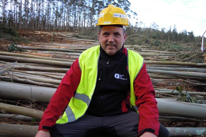 Luis Díaz Casariego dirixe unha empresa que procesa entre 400 e 500 toneladas de madeira diarias