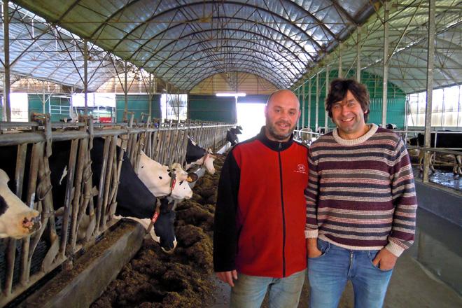 Juan e Moisés na nave de produción, ubicada na parroquia de Goiriz