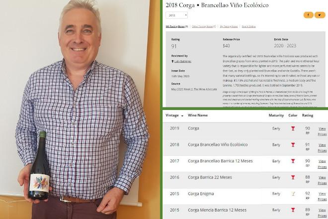 Corga Brancellao 2018, un viño ecolóxico galego premiado con 91 puntos na Guía Parker
