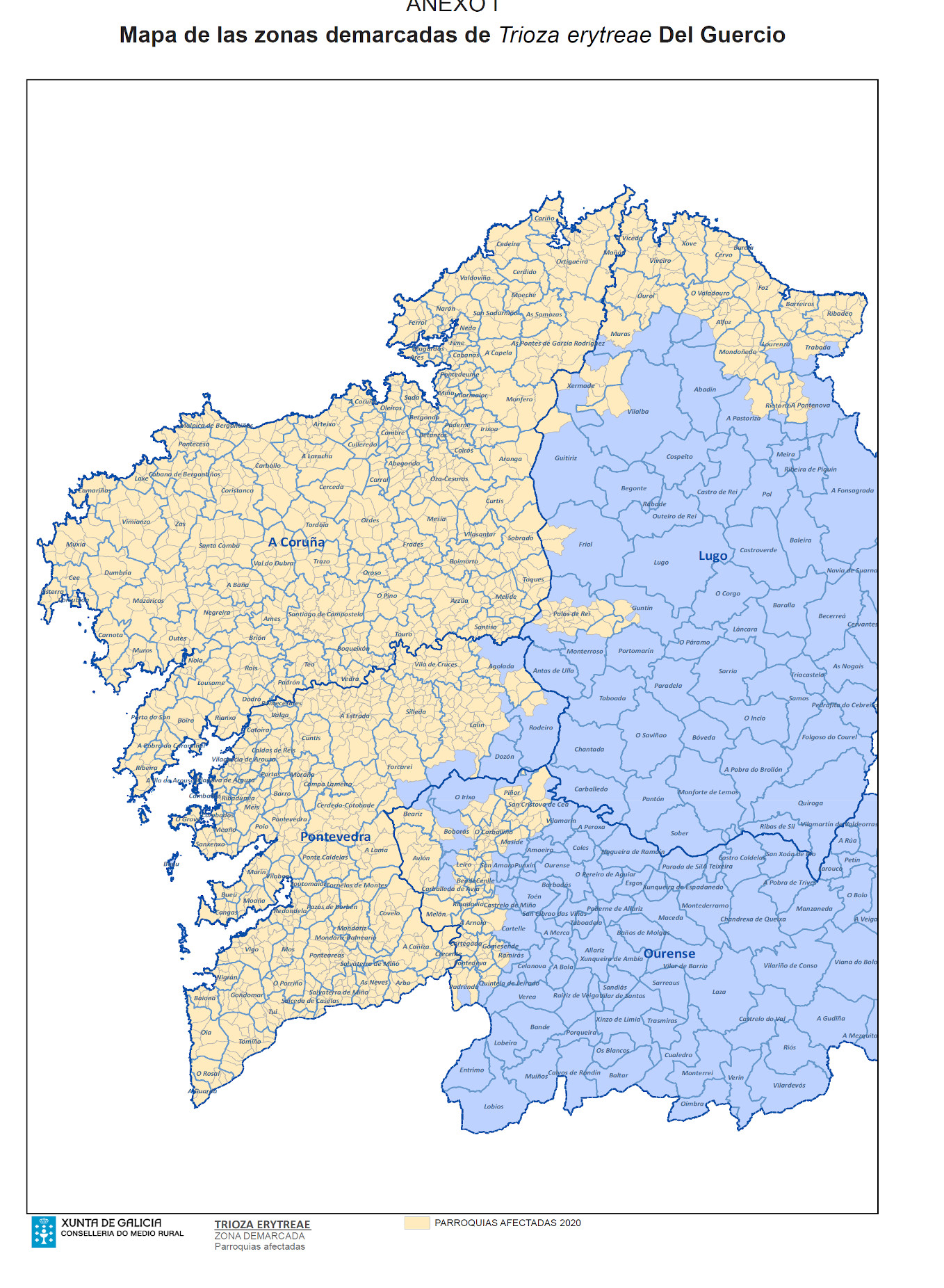 trioza citricos mapa 2020
