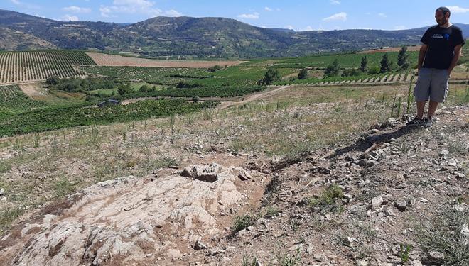El viticultor Mario Yáñez adquirió hace años la parcela y se disponía a hacer bancales para el viñedo cuando encontró los lagares.