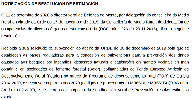 Fragmento dunha das notificacións de resolución das axudas que recibiron onte os beneficiarios.