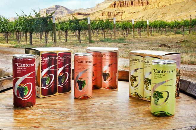 Gama de vino enlatado de la marca Canterris, elaborado en Colorado (EEUU)