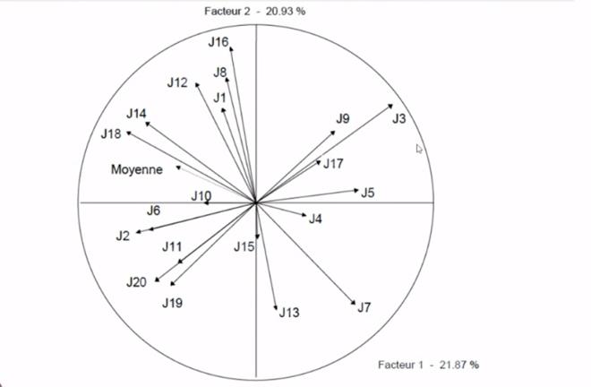 A gráfica amosa a falta de consenso entre os expertos na avaliación de tipicidade dos viños Savennières.